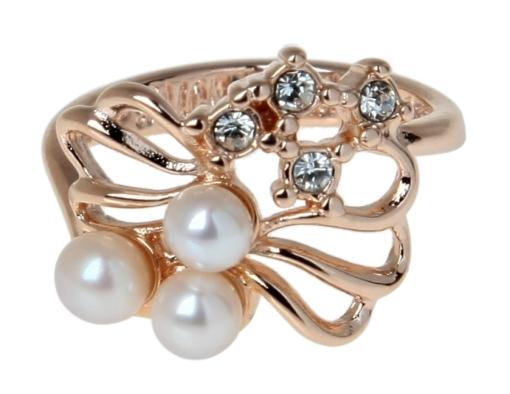 """Кольцо """"Биаро"""" с жемчугом, покрытое золотом(j131p0g0)"""