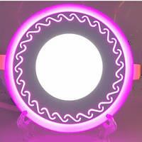 LED панель Lemanso LM534 Завитки круг 3+3W розовая подсветка 350Lm 4500K, фото 1