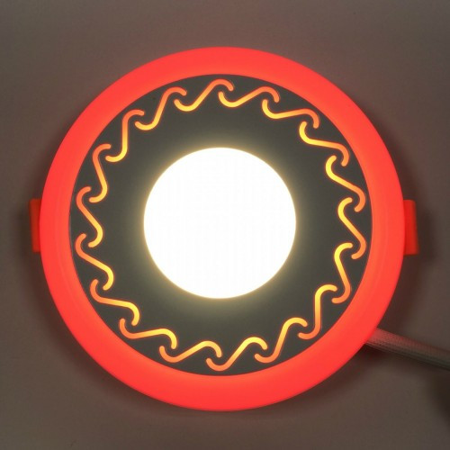 LED панель Lemanso LM534 Завитки круг 3+3W красная подсветка 350Lm 4500K