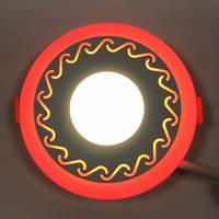 LED панель Lemanso LM534 Завитки круг 3+3W красная подсветка 350Lm 4500K, фото 1