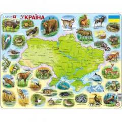 Пазлы Larsen Карта Украины - животный мир