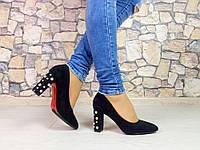 "Черные туфли на широком каблуке эко замша "" Pearl """
