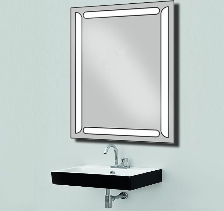 Дзеркало з LED підсвічуванням настінне d17 для ванної кімнати 600х800 мм Лід