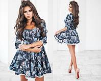 Красивое женское корткое джинсовое платье с принтом с кружевной отделкой из льна рукав три четверти +цвета