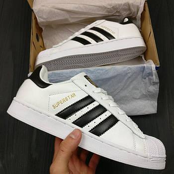 Женские кроссовки AdidasSuperstar (Адидас Суперстар) черно-белые