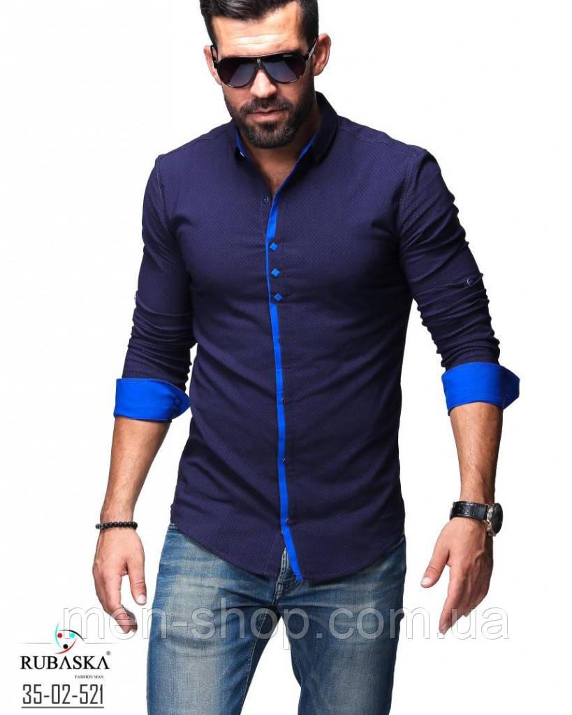 Темно синяя рубашка мужская