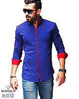 Модная синня с красным рубашка для мужчин