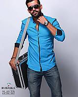 Ярко голубая модная рубашка для мужчин