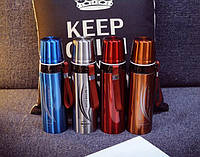 Термос с чашкой глянцевый для горячих и холодных напитков с шнурком  650 мл красный