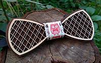 Деревянная бабочка галстук Орнамент Сова ручной работы, серия Fantasy