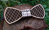Деревянная бабочка галстук Орнамент Клетка ручной работы, серия Fantasy
