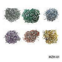 Круглые цветные стразы на планшете MZH -01 Lady Victory (24 пакетика)  (серебряные, изумрудные, голубые, сиреневые, красные, золотые.)