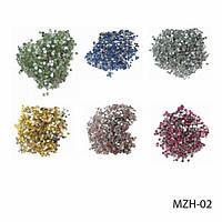 Круглые цветные стразы на планшете MZH - 02 Lady Victory  (24 пакетика) (зеленые, лазурные, серебряные, золотые, розовые и рубиновые)