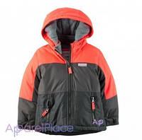 Carter's Куртка серо-оранжевая на мальчика на флисе 0-24