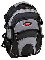 Школьный серый рюкзак 9609 grey из нейлона вместительный, фото 1