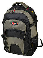 Школьный рюкзак 9609 green черный с зелеными вставками, фото 1