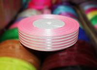 Лента атласная полоска розовая+ белая, 2,5см, 45м