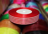 Лента атласная полоска красная+ белая, 2,5см, 45м