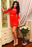 Элегантное женское платье под горло с вставками сетки