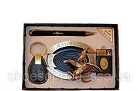 Стильный мужской набор 4 пр (пепельница, зажигалка, брелок, ручка)