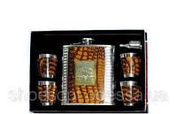 Подарунковий чоловічий набір для віскі Jim Beam: шкіряна фляга, 4 чарки, лійка