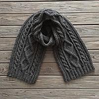 Мужской вязаный шерстяной длинный шарф ручная работа