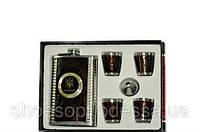 Подарочный набор для мужчин: кожаная фляга, 4 рюмки, лейка