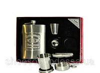 Подарочный набор для виски Jim Beam: фляга, рюмка, лейка, открывалка, стакан телескопический