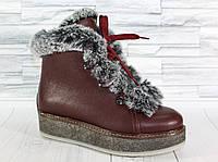 Ботинки зимние с опушкой. Натуральная кожа. 1454
