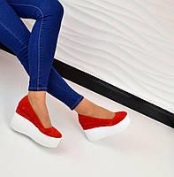 Хит продаж! Женские замшевые туфли красного цвета на высокой платформе, 36-40р.
