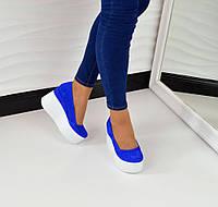 Хит продаж! Женские замшевые туфли синего цвета на высокой платформе, 36-40р.