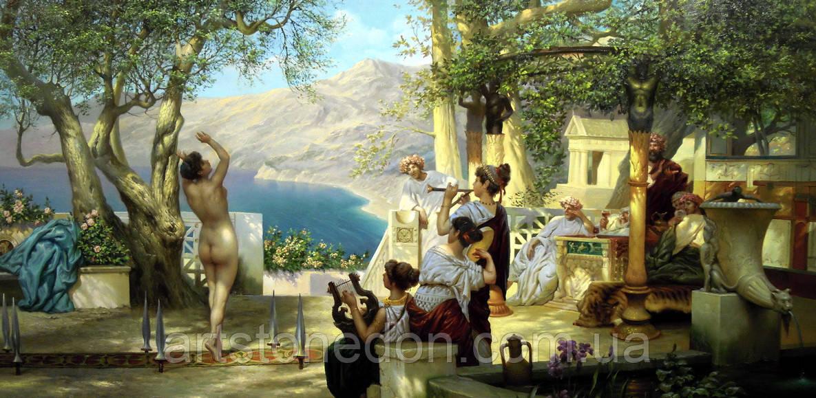 "Картина Генриха Семирадского  ""Танец среди мечей"" 65*130 см. Холст, масло"