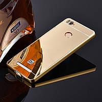 Металлический бампер Epik с акриловой вставкой с зеркальным покрытием для Xiaomi Redmi 3s / Redmi 3 Pro Gold