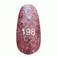 Гель-лак  Kodi 8 мл № 198 вишневый с крупными блестками