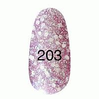 Гель-лак  Kodi 8 мл № 203 сиреневый с блестками разных размеров