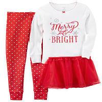 Детский новогодний костюм девочке,нарядный, помощница санты,реглан,юбка,лосины,леггинсы Carters