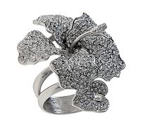 """Кольцо """"Кордия"""" с кристаллами Swarovski, покрытое родием (r359f000) (делается +-1 размер)"""