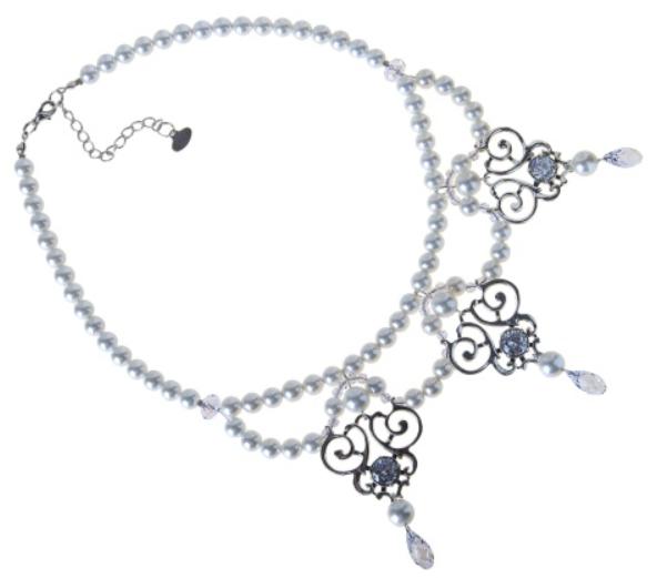 """Колье """"Армана"""" с жемчугом, покрытое серебром (r49335kw)"""