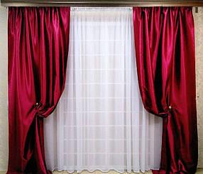 Шторы портьерные Шанзализе Вишня (2 шторы на тесьме)