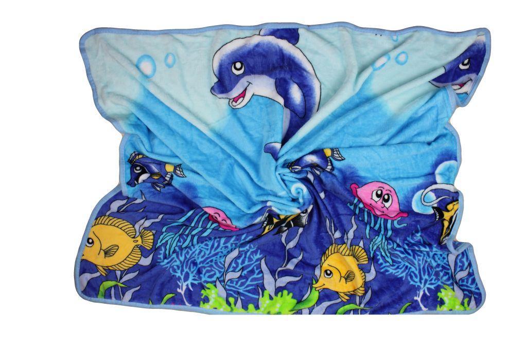 Плед детский одеяло из рваной махры 100х110 см Дельфинчик