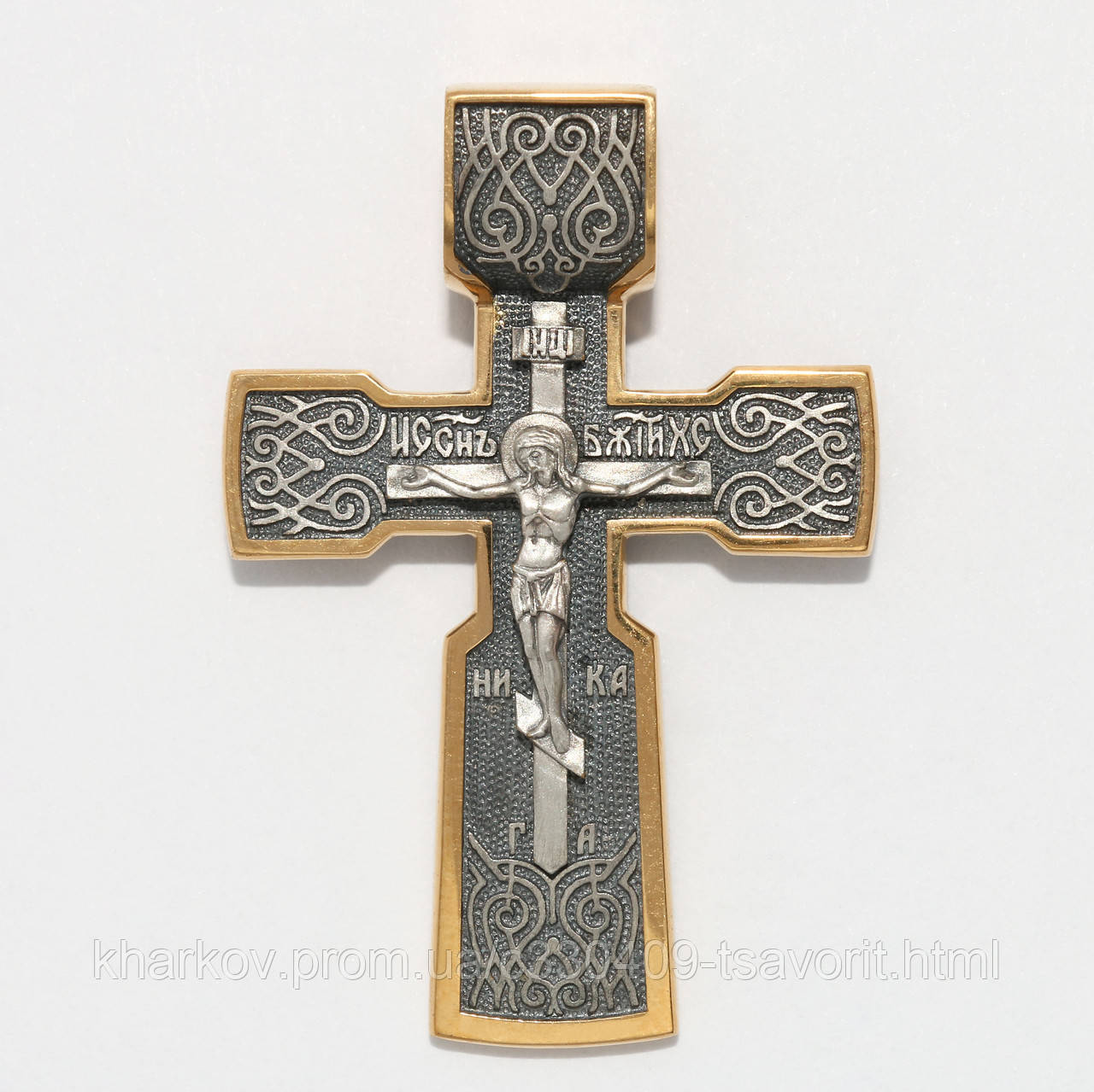 Серебряный крестик с позолотой ВКХ-53