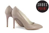 Женские кожаные туфли лодочки мутон