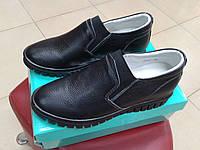 НОВИНКА! Женские кожаные туфли на тракторной подошве ALLSHOES 7229,  черные