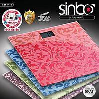 Стеклянные напольные весы Sinbo SBS 4430 . Весы до 150 кг. Весы Электронные, Весы напольные бытовые