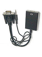 Конвертер VGA в HDMI+ аудио,штекер VGA - гнездо HDMI + штекер 3,5 стерео, фото 1