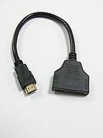 Переходник , шт HDMI - 2 гнезда HDMI, со шнуром 0,2 метра