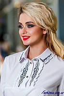 Офисная Белая Блуза Рубашка с Вышивкой Длинный Рукав р. 44 46 48 50