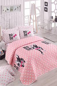 Покрывало стеганное с наволочками Eponj Home Boston Pembe розовый 160*220 полуторного размера