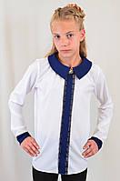 Школьная нарядная детская блуза с брошью, р.128-152.