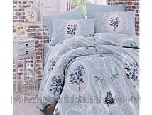Постельное белье majesti синий ранфорс полуторный (160х220х1шт/ 160х240х1шт/ 50х70х1шт)